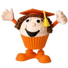 This confident graduate is ready to stand on her own two feet and celebrate. Make cupcakes in Silly-Feet! Silicone Baking Cups and pipe a buttercream icing mound for head. Make mortarboard, hands and tassel with tinted fondant. Two thumbs up for a super accomplishment!