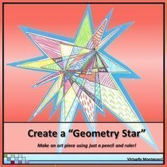 """It's FREE! Create a """"Geometry Star"""" This is one of my favorite geometry activities to do with upper elementary students. It's a simple review of point, line, line segment, endpoints, angles, and ruler use, plus the """"stars"""" turn into unique, colorful art w"""