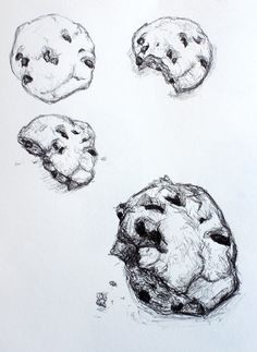 Year 9 Observational drawings - eating a biscuit.