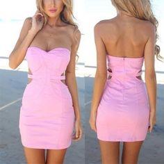 MalangFashion Pink Plain Bandeau Cut Out Sleeveless Mini Dress