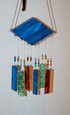 Wind Chimes Earth Tones Stained Glass with Ball Chain Hanger  Cerulean Blue Wispy Glass with Amber and Paris Green on Etsy, $28.00
