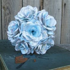 12 Handmade Map Paper Flower Roses - Weddings, Gifts, Home Decor