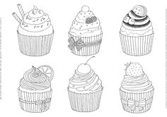 coloring book page print cupcake 컵케이크 컬러링북 도안 페이지 프린트