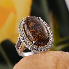Indian Script Stone and Santa Ana Madeira Citrine Ring in 14K Yellow Gold and Platinum Overlay Sterling Silver (Nickel Free)