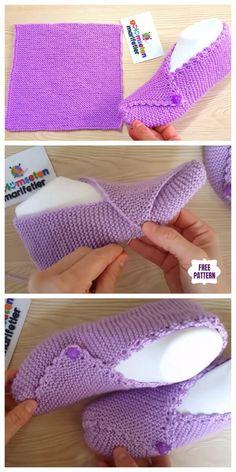Knit Mesh Square Slippers Free Knitting Pattern - Video - Knitting for beginners,Knitting patterns,Knitting projects,Knitting cowl,Knitting blanket Knit Slippers Free Pattern, Crochet Slipper Pattern, Crochet Socks, Knitted Slippers, Knit Or Crochet, Crochet Clothes, Crochet Baby, Slipper Socks, Booties Crochet