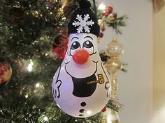 Hand Painted Snowman Christmas Light Bulb Ornament