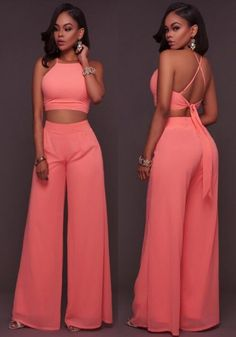 Pink Backless Tie Back Cross Back Two Piece Wide Leg Long Jumpsuit