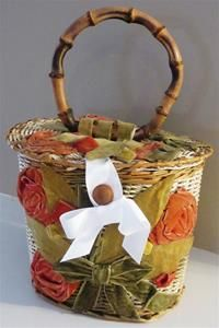 Vintage Magid Japan Wicker Basket Round Purse Handbag Velvet Roses Flowers Handmade Handcrafted Grosgrain Ribbon