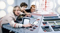 Peter Davison as the Doctor, Janet Fielding as Tegan and Mark Strickson as Turlough inside the Tardis in 1984's Resurrection of the Daleks