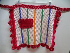 Crocheted apron vintage apron vintage half apron retro apron