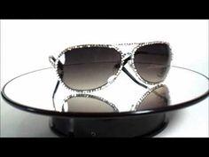 Unisex Black Frame Aviator Sunglasses with Swarovski Crystals - YouTube