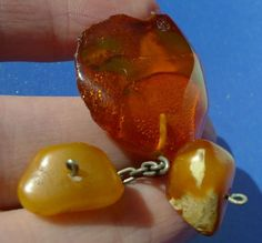 j43. Cognac Honey Yellow White Natural Baltic Amber gemstone brooch jewelry 8g