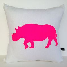 Vibrant Rhino - Neon Pink - Hand Printed Cushion Cover - Linen Cotton - 40cm x 40cm on Etsy, $50.00 AUD