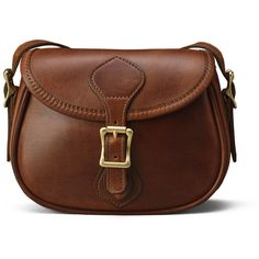 Small Shoulder Handbag Flap Bag - Distressed Brown Leather | J.W. by None, via Polyvore