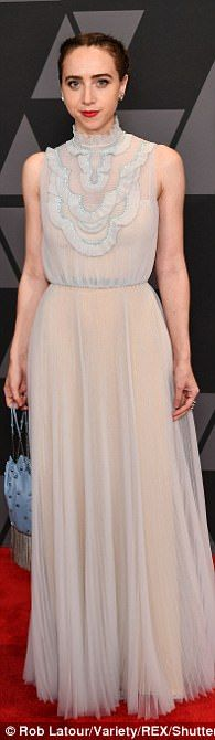 A different take on glam: Zoe Kazan, 34, looked beautiful in her vintage-inspired dress,S...