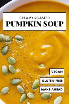 Creamy Roasted Pumpkin Soup The BEST pumpkin soup recipe! It's CREAMY and healthy, and perfect for chilly fall days. You won't believe this roasted pumpkin soup recipe doesn't contain any cream! Roasted Pumpkin Soup Recipe, Vegan Pumpkin Soup, Roast Pumpkin Soup, Pumpkin Vegetable, Pumpkin Recipes, Cookie Recipes, Vegan Recipes, Spiced Pumpkin, Vegan Soups