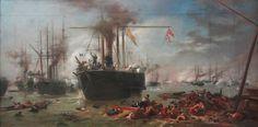 VICTOR MEIRELLES - Estudo para a Batalha Naval do Riachuelo Óleo sobre cartão colado em tela - 79 x 156