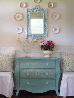 Money-Smart Living Room Upgrades : Rooms : Home & Garden Television Turquoise Painted Furniture, Turquoise Painting, Paint Furniture, Furniture Makeover, Blue Furniture, Furniture Decor, Furniture Design, Furniture Arrangement, Furniture Outlet