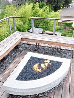 Best Photos Outdoor Fire Pits that Excellent for Your Outdoor Designs : Beautiful Photos Outdoor Fire Pits With Corner Wooden Chairs At The Terrace Gravel Wooden Floor Cable Railing