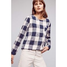 Cloth & Stone Gingham Button-Back Top ($88) via Polyvore featuring tops, navy, navy blue top, navy top and button back top