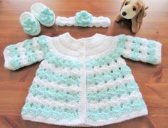 Crochet Baby Sweater Headband and Booties Newborn by TheComfyBaby