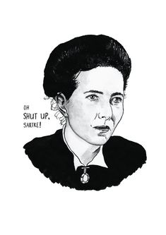 Simone de Beauvoir Literary Poster Print Great Writer Feminist Icon via Etsy