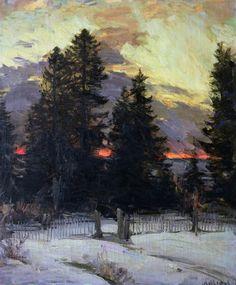 Sunset over a Winter Landscape, ca 1902, Abram Efimovich Arkhipov. Russian (1862 - 1930)