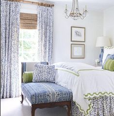 Brunschwig and Fils curtains Les Touches curtains les touches drapes curtain panels dalmation print black and white blue and white dots - Bedroom decor - Home Decor Bedroom, Master Bedroom, Bedroom Ideas, Bedroom Designs, Style At Home, Drapes Curtains, Curtain Panels, Bedroom Drapes, Painting Curtains