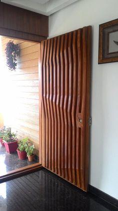 interiors of a residence, Belgaum, 2014 - Saleem Totad House Main Door Design, Wooden Main Door Design, Door Design Interior, Office Furniture Design, Space Saving Furniture, Modern Wooden Doors, Wood Doors, Entrance Doors, Front Doors