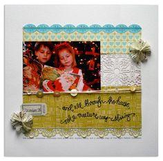 The Night Before Christmas  |  supplies: patterned paper (Sassafras Lass, Basic Grey) + Sassafras border sticker + Studio Calico flowers + Jenni Bowlin ticket  + Traveling Typewriter font + buttons, twine