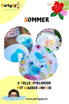 Sommer mit Kinder zu Hause verbringen. Hier sind 5 coole Spielideen, Spiele für Kind und Kleinkind (Kleinkindern) an heissen Sommertage. Lustige Ideen für lange Beschäftigung (zum Beispiel malen mit Eis) von Kindern mit Wasser und Eis. Toll