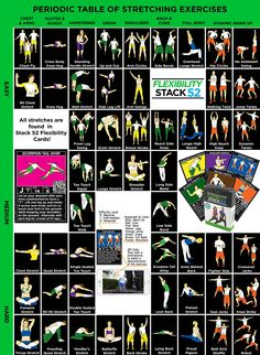 This clickable infograph lists over 50 different stretching exercises. Click on any illustration for a quick video demonstration of that exercise.
