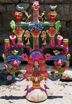Francisco Flores Tree of Life, Izucar de Matamoros, Mexico, Sahumerios y Arbol de la vida (Izúcar de Matamoros, Puebla) Mexican Tree of Life - art decor.
