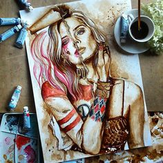 "Nuria Salcedo - Valencia (SP): ""Harley Quinn taking over Margot Robbie"" done with watercolors and coffee on Canson for watercolors . Harley Quinn Tattoo, Harley Quinn Drawing, Joker And Harley Quinn, Graffiti, Coffee Painting, Goth Art, Comics Girls, Portrait Illustration, Coffee Art"