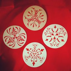 patterned chipboard coasters