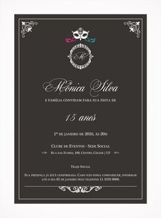 Convite Digital 15 anos 08 Tema Baile de Máscaras, elegante, clássico. Mais