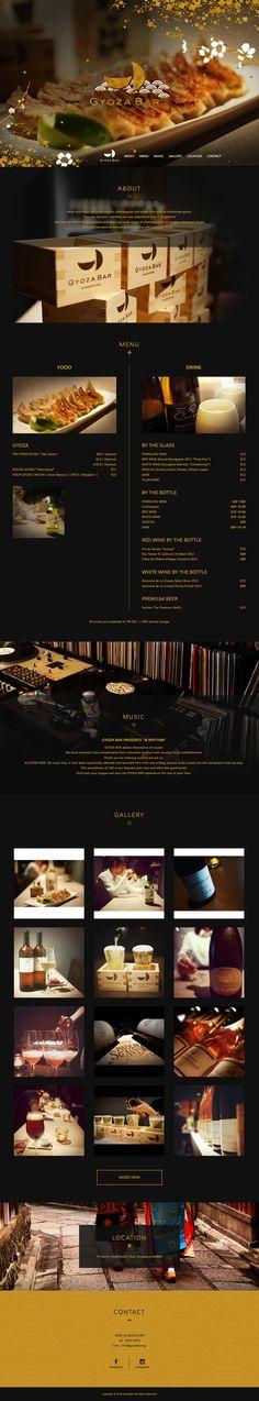 シンガポールにある餃子バー「GyozaBar」- 1ページもののWEBサイト。海外だけどモダンな和風がおしゃれ|webdesign, design, responsive, black, gold, food, luxury, japanese Japanese Restaurant Menu, Japanese Menu, Restaurant Branding, Ui Ux Design, Layout Design, Branding Design, Luxury Graphic Design, Restaurant Website Design, Menu Book