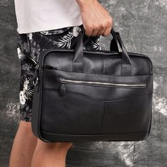 Men Genuine Leather Antique Fashion Business Briefcase Laptop Case Attache Portfolio Bag One Shoulder Messenger Bag - Kenzi- Shop more, live better Leather Bags, Cow Leather, Business Briefcase, Leather Material, Laptop Case, Business Fashion, Messenger Bag, One Shoulder, Free Shipping