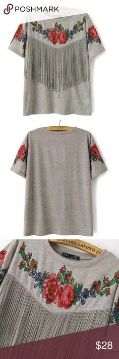 Festival Ready Gray & Floral Print Fringe T  Short Sleeved Dark Gray With Red Rose Graphic And Fringe Tee   Size: Medium  Color: Dark Gray  Material: Cotton  New, In Original Packaging No Flaws  Rose Graphics On Front Chest Of Shirt And Both Sleeves Fringe Hanging From Front Of Shirt Perfect For Fair And Festival Season Measurements Upon Request  Two Available Smoke Free Home Cat/Dog Friendly Home Offers Welcome Tops Tees - Short Sleeve