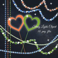Soft String Lights Clipart Pastel Clip Art Wedding Hearts