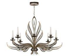 &&  Fine Art Lamps 817240, Villandry Silver Candle Chandelier Light, 384W Halogen, Silver Leaf