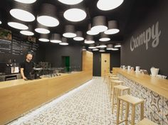 Renovation and interior design space for the newly formed network of fast-food restaurants. The dominant color is black space in combination with. Bistro Interior, Interior Design, The Bistro, Black Space, Kitchen Corner, Space Furniture, Furniture Inspiration, Restaurant Bar, Coffee Shop