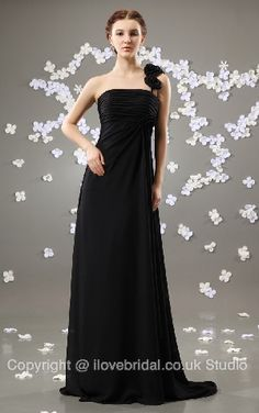 Tempting A-line Black Chiffon Bridesmaid Dress With Floral One Strap