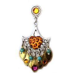Oorbellen : Karin Ravelli - Hand made - Verzilverde oorbel + gouden druppels + steentjes van Swarovski