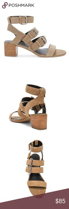 """REBECCA MINKOFF Buckle Strap Suede Sandal NIB! In Taupe Bold suede straps climb the front of a warm-weather sandal set in a stacked cup heel.  *Suede upper with man made sole *Buckle closures *Heel measures approx 2"""" H  ❌NO TRADES  I❤️Bundles ❤️REASONABLE OFFERS ONLY PLEASE❤️ Rebecca Minkoff Shoes Sandals"""