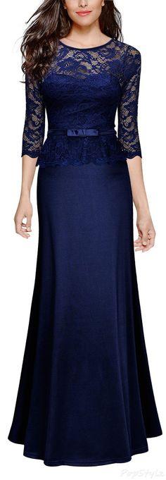 MIUSOL Vintage Floral Lace Peplum Evening Dress
