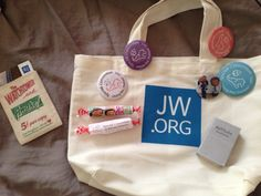 So many cute gift ideas from our special convention of Jehovah's witnesses ...a few of my favorites are: bag with jw.org, pins, mini bible (over matchbox with magnet), smarty wrappers with pics on it, and business card holder with vintage watchtower and awake on it. So creative!