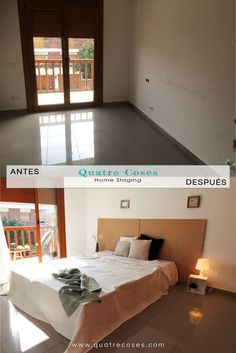 Antes y despues de dormitorio de matrimonio. home staging, decoracion neutro, luz y color. Cabezal sencillo