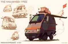 Halloween Tree Van, Chase Nichol on ArtStation at https://www.artstation.com/artwork/halloween-tree-van