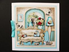 Charming Living Room Card Mini Kit on Craftsuprint created by Valerie Spowart - I printed out sheets onto matt photopaper, cut out and attached base to square white card, added decoupage with foam pads and finished with turquoise bow to spine. A lovely design.
